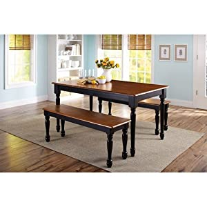 3-piece wooden dining and breakfast table and bench set, furniture