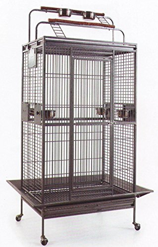 Large Wrought Iron Double Ladders With Open/Close Play Top Bird Parrot Cage, Include Metal Seed Guard and Play Top
