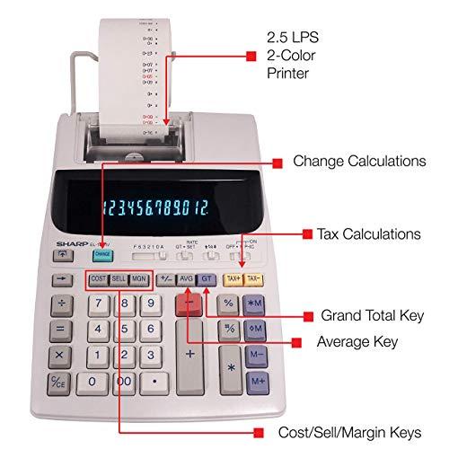 Sharp EL-1801V Two-Color Printing Calculator 2.1 Lines/Sec 4 Black/Red