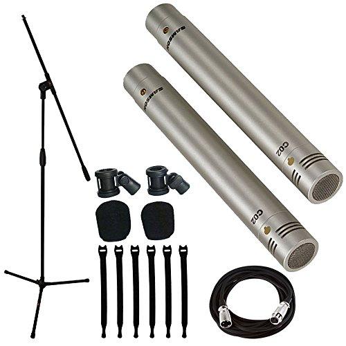 Samson C02 Pencil Condenser Microphones + Mic Stand + Mic Cable + Strapeez - Top Value (Samson Professional Speakers)