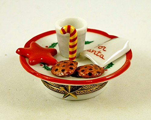 Santa Claus Candy Cane (Authentic French Porcelain Hand Painted Christmas Limoges box Plate with Cookies Milk and Candy Cane for Santa Claus)