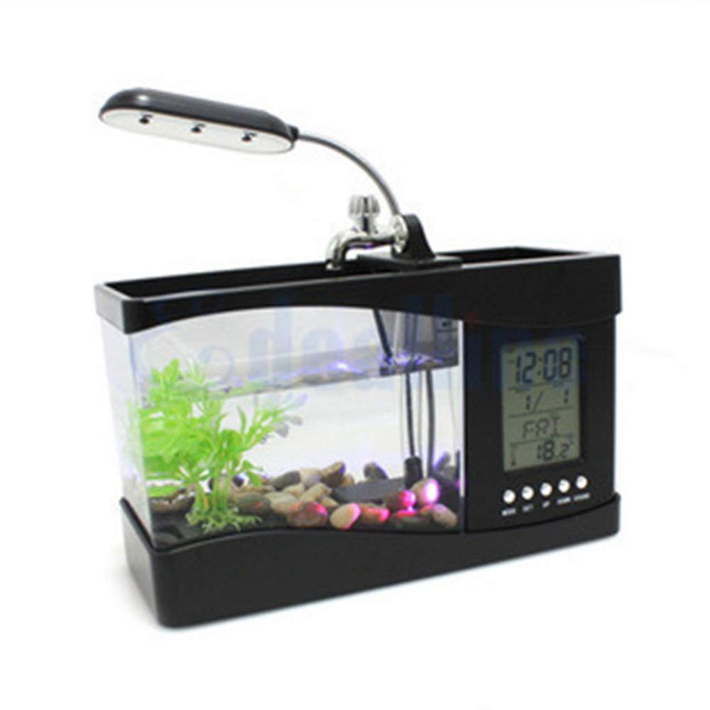 Black I Black I LX Table Lamp Usb Mini goldfish Bowl Table Lamp Small Multi-Function Desktop Ecological Aquarium Office Decoration Perpetual Calendar Fish Tank Clock