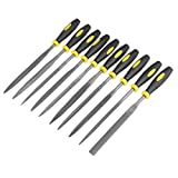 uxcell 10Pcs Smooth Cut Bearing Steel Needle File Set with Rubber Handle, 5mm x 180mm