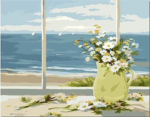 Pintar por Numeros Adultos DIY Kit Facil Flores alfeizar Junto al mar para ninos de Pintura al oleo Principiantes Regalo Decoracion del hogar 40x50 cm