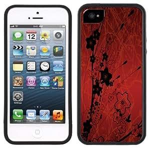 Black Red Flowers Handmade iPhone 5 Black Bumper Plastic Case