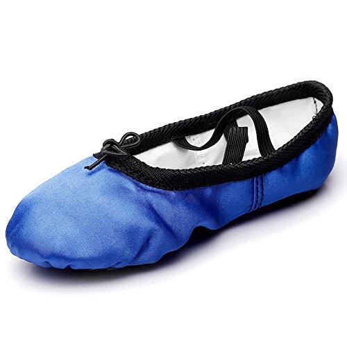 Kid Girl's Satin Practise Ballet Slipper Yoga Shoe,Royal Blue,Big Kid,3.5 M US