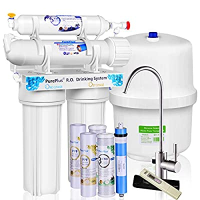 PurePlus Under Sink 5-Stage Reverse Osmosis Drinking Water Filter System With LG Original Membrane 80GPD Auto Leaking Stop Extra 1 Full Sets Of 4 Filters & 1 TDS Meter