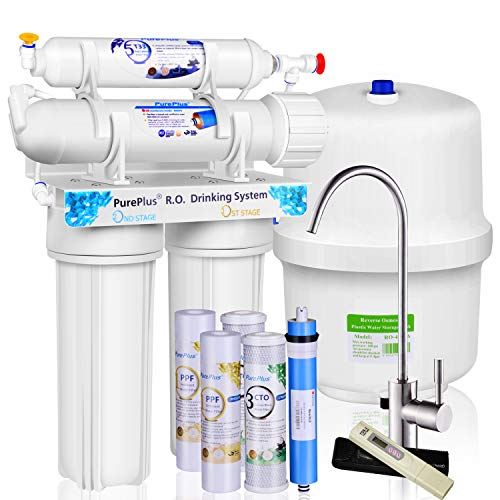 PUREPLUS 4-stage Reverse Osmosis Water Filtration System - 80 GPD Under Sink RO Filter Drinking Systems - Plus NSF 58 certified LG Original Membrane and 1 year Use Filters- FDA Certified