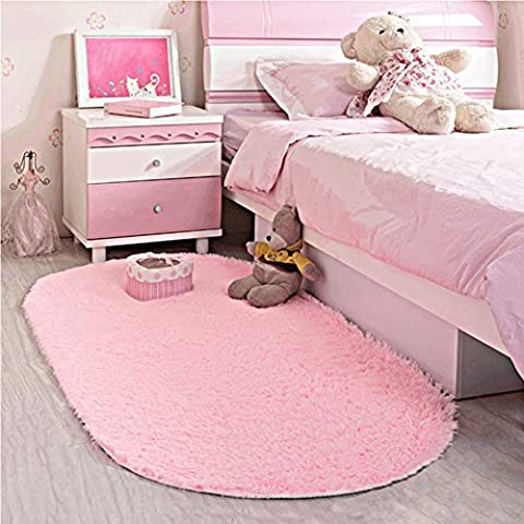 LOCHAS Ultra Soft Children Rugs Room Mat Modern Shaggy Area Rugs Home Decor 2.6' X 5.3', Pink (Gray And Pink Round Rug)