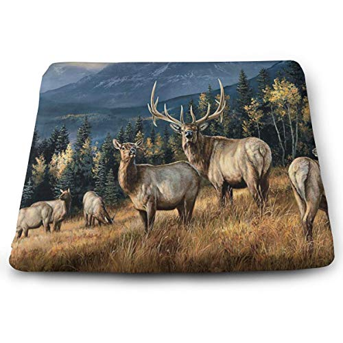 IDO Square Seat Cushions Wapiti Elk Animal Painting Premium Comfort Memory Foam Kitchen Chairs Pad for Patio,Office,Kitchen,Desk,Travel,Kids,Yoga,Truck Driver,Car