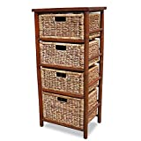 Heather Ann Creations 4-Drawer Bamboo Open Frame Cabinet, 38-Inch, Tan and Brown