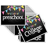 First Day & Last Day of School 8x10 Photo Prop Signs Entire Series Preschool - College Pastel Color Pennant Flags for Girls, 16-Grade Levels: Preschool, Pre-K, Kindergarten, 1st-12th Grades to College