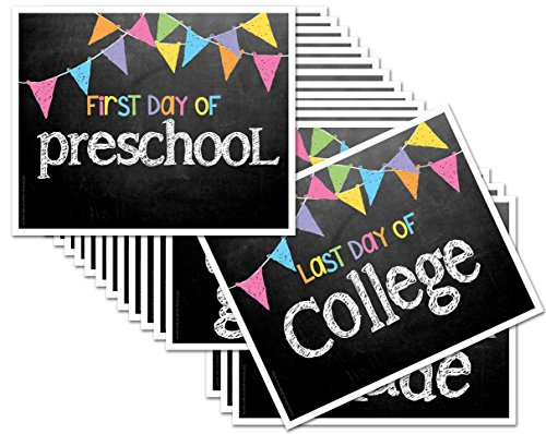 Chalkboard Photo Prop Signs for First Day & Last Day of School, 8' x 10', Pastel Flags for Girls, 16-Grade: Preschool, Pre-K, Kindergarten, 1st-12th Grades to College ()