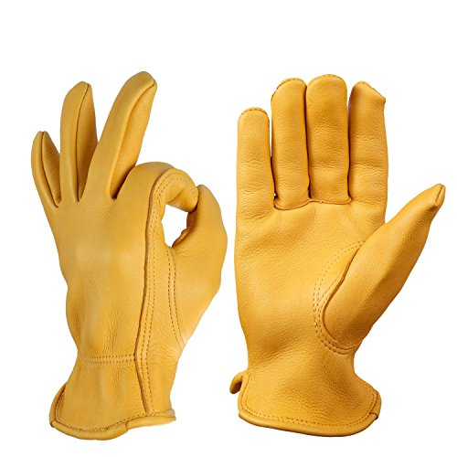 OZERO Hunting Gloves, Grain Suede Leather Shooting Gloves for Rubbing Jewelry/Driving/Riding/Gardening/Yard Work/Farm - Extremely Soft for Men & Women (Gold,L) - Deerskin Dress