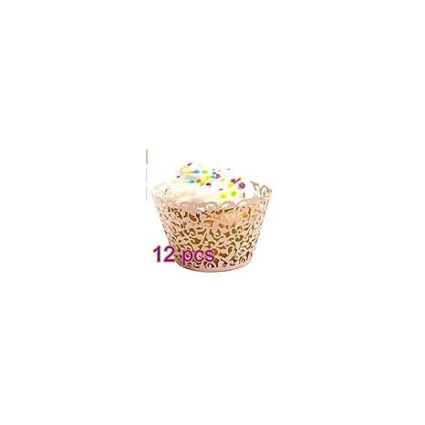 12 pcs Viña en filigrana para tartas moldes para cupcakes (Wrapper Wraps Decoración de Boda