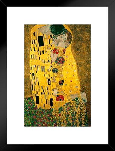 Gustav Klimt The Kiss 1908 Austrian Symbolist Painter Golden Period Art Nouveau Print Matted Framed Art Print Wall Decor 20×26 inch