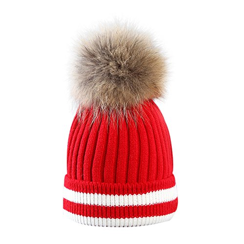 iYBUIA Fashion Outdoor Winter Patchwork Hat Hair Ball Stripe Knitted Hat Women Hat Beanies Cap(Red,One Size)