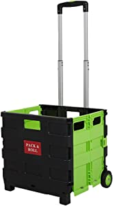 Lucky Tree Wheeled Rolling Cart for File Collapsible Hand Crate Folding Grocery Cart for Shopping Office, 15 x16 x14.5 inch, 77lbs Capacity
