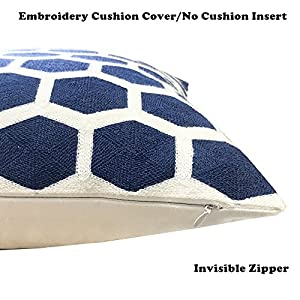 SLOW COW Embroidery Cozy Throw Pillow Covers for Couch Bed Sofa, Navy Football Geometric Trellis Chain, 18 X 18 Inches.