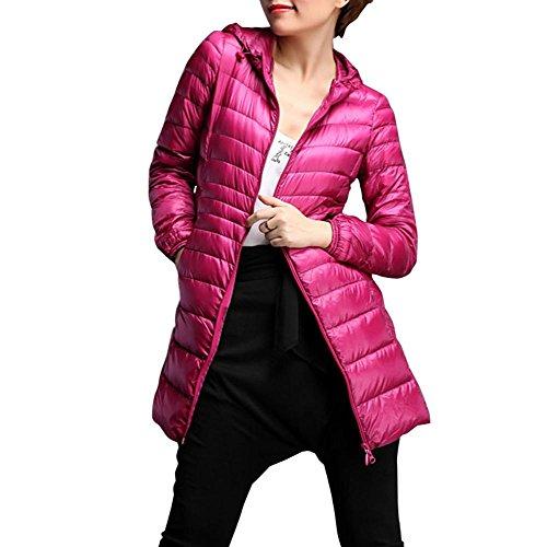 Byste Women Lightweight Winter Slim Cotton Padded Down Jacket, Plus Size Coat Warm Outwear Overcoat,S-6XL Hot Pink