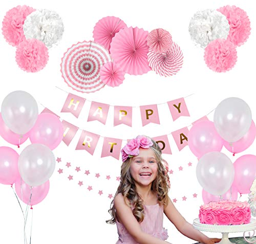 Pink Birthday Party Decoration Set – Happy Birthday Banner, Pink Paper Fans, Star Paper Garland, Colorful Balloons & Tissue Pompoms – 27-Piece Girls Birthday Party Decor Supply Kit -