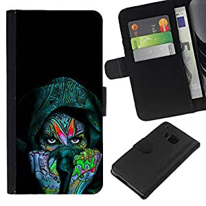 // PHONE CASE GIFT // Moda Estuche Funda de Cuero Billetera Tarjeta de crédito dinero bolsa Cubierta de proteccion Caso HTC One M7 / Colorful Indian Woman /