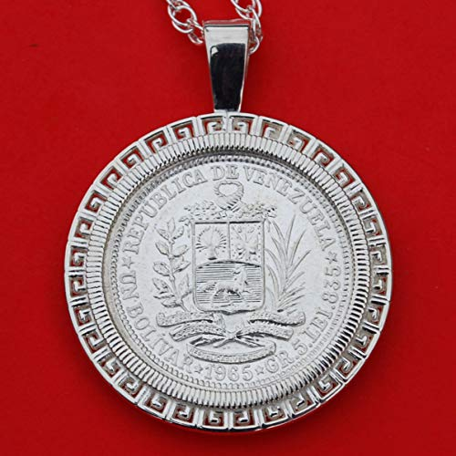 - 1965 Venezuela 1 Bolivar 0.835 Silver Coin Soild 925 Sterling Silver Necklace - National Arms Cornucopias Horse Flags Olive Branch
