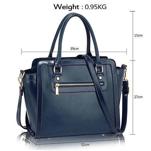 Ladies Bags 1 Handbags Navy Shoulder Celebrity Tote Size Faux Leather New Style Medium Womens Design wXgEpqU