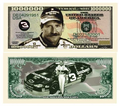Race Sr Dale Earnhardt (Set of 50 Bills - Dale Earnhardt Sr Million Dollar Bill)
