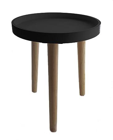 Deko Holz Tisch 36x30 Cm Schwarz Kleiner Beistelltisch
