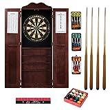 Game Room Guys Steel Tip Dart Board & Billiard Cue Cabinet Pkg-English Tudor