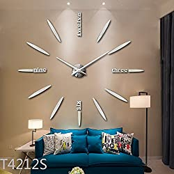 3D DIY Wall Clock, Timelike Modern Frameless Large 3D DIY Wall Clock Kit Decoration Home for Living Room Bedroom (Silver)