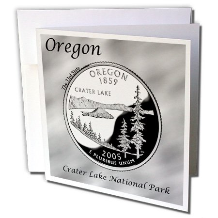 3dRose Bob Kane Photography Coins - State Quarter Oregon - 1 Greeting Card with envelope (gc_120147_5)