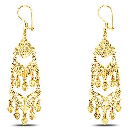 Jewel Tie Solid 14K White Gold Diamond-Cut Fancy Chandelier Dangle Hanging Drop Earrings 19 X 60mm