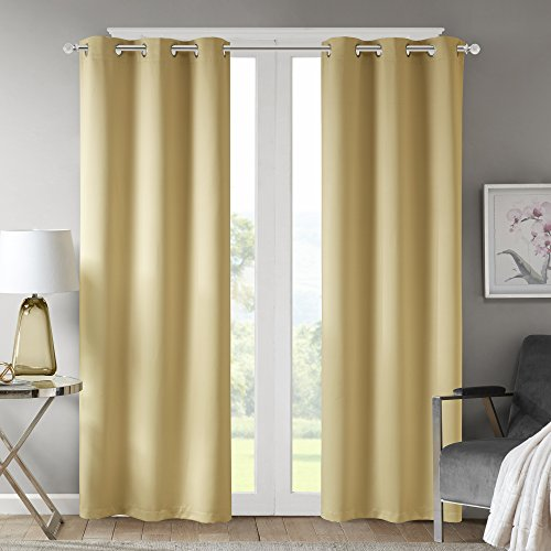 Comfort Spaces - Windsor Solid Yellow Window Curtain Pair / Set of 2 Panels - 42x108 inch panel - Blackout Room Darkening - Grommet Top - 2 Pieces