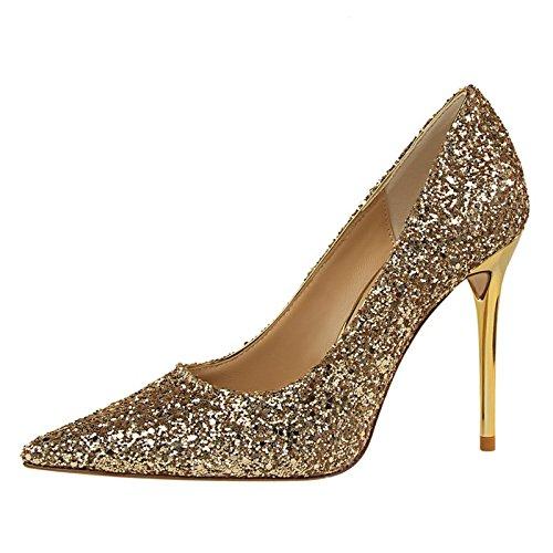YMFIE Unión Sexy Tacones Puntiagudos y Lentejuelas de Damas Zapatos Zapatos de Trabajo Parte de Banquetes. e
