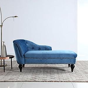 DIVANO ROMA FURNITURE Kid's Velvet Chaise Lounge for Living Room or Bedroom