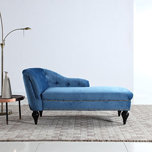 Divano Roma Furniture Kid's Chaise Lounge Indoor Chair Tufted Velvet Fabric, Modern Long Kid Size Lounger for Living Room or Bedroom (Blue) ()