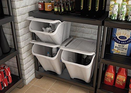 Juego de 3 cajas de almacenamiento apilables, para reciclaje, colada, plástico, con tapa, color blanco: Amazon.es: Hogar