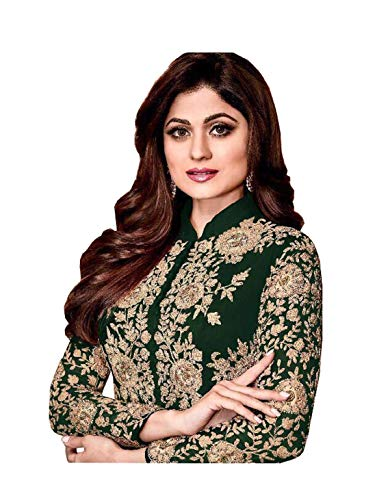 (London Collection Glorious Amisha and Shilpa shetty Codding Work Pakistani Style Salwar Kameez (Green, SMALL-12))