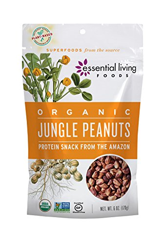 Essential Living Foods Organic Jungle Peanuts, Heirloom, Protein Rich, Vegan, Superfood, Non-GMO, Gluten-Free, Kosher, 6 Ounce Resealable Bag ()