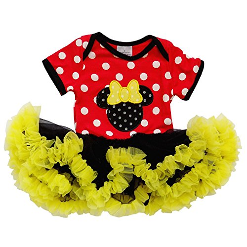 [So Sydney Baby Girls Tutu Chiffon Ruffle Skirted Onesie Minnie Mouse Romper (M (6-9 Months))] (Mickey Dress)