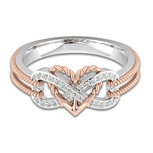 Cupid White Gold Ring - YOUNICE Women's Heart Rings Infinity Rings Vintage Cupid's Arrow Shank CZ Two-Tone Bridal Engagement Wedding Promise