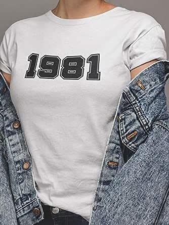 عتيق تيشيرت1981 بلايز نسائي قطن، ابيض، XS