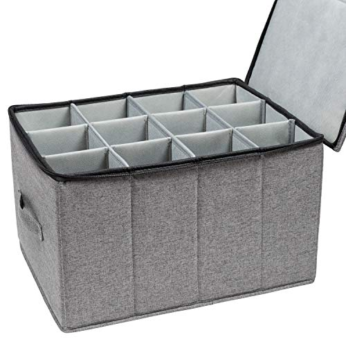 Wine Glass Storage, Holds 12 Red or White Wine Glasses, Fully-Padded Inside with Hard Top and Sides