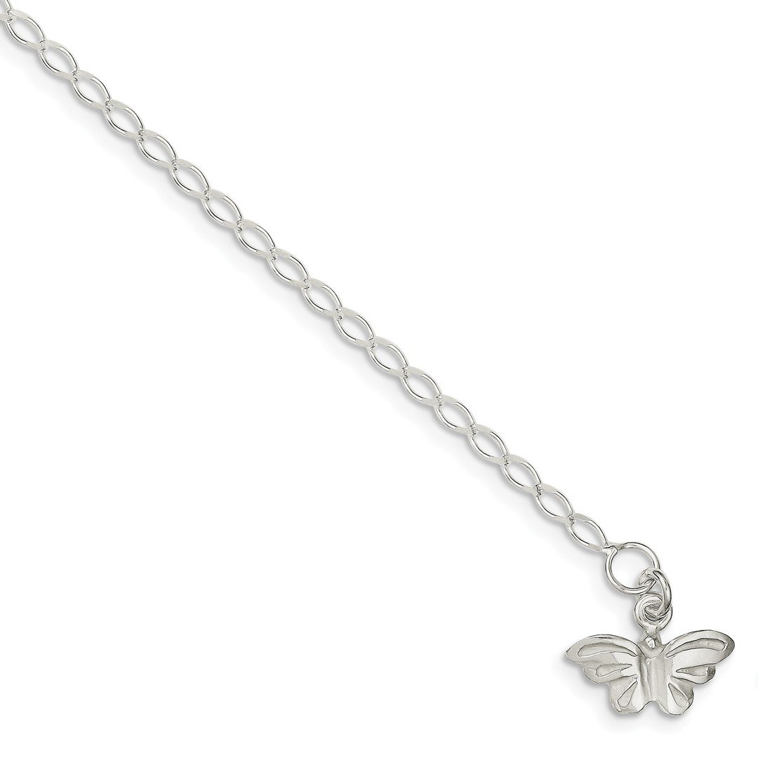 Ankle Bracelet Foot Jewelry Anklet - ICE CARATS 925 Sterling Silver 10 Inch Solid Butterfly Anklet Ankle Beach Chain Bracelet Fine Jewelry Ideal Gifts For Women Gift Set From Heart by ICE CARATS (Image #1)