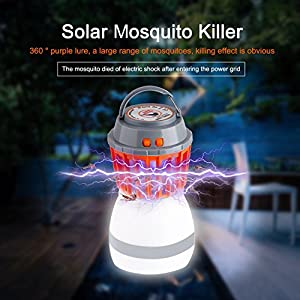 Helesin Outdoor Mosquito Zapper 2-in-1, Bug Zapper With Night Lantern Best Natural Mosquito Killer Lamp, Pest Control, Usb Charging, IP67 Waterproof,Compact,for indoor&camping, Traveling