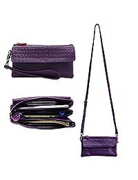 Belfen Leather Wristlet Wallet Clutch Women Smartphone Cross Body Wallet with Card slots/Shoulder strap/Wrist Strap -for Cellphone Up to 6.1 x 3*0.3 Inch-Purple