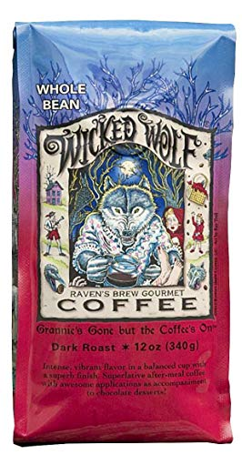 Ravens Brew Wicked Wolf Whole Bean Coffee, 12 Ounce - Dark Roast - Full Body of Currant and Spice