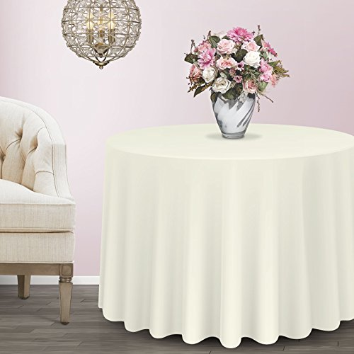 Lann's Linens - 10 pcs 132 in. Round PREMIUM WEIGHT Seamless Tablecloths - for Wedding or Party Use - Ivory by Lanns Linens (Image #4)